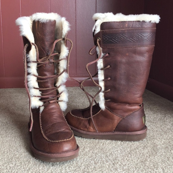f394e0597b0 UGG genuine leather fur lined lace up boots